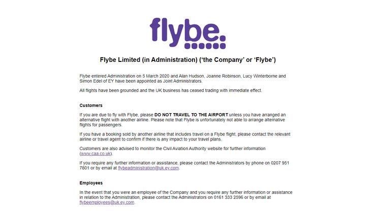 «Flybe hat den Betrieb eingestellt», heisst es auf der Website der Airline.