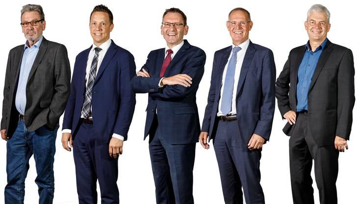 Die fünf Solothurner Ständeratskandidaten 2019: Roberto Zanetti (SP, bisher), Christian Imark (SVP), Pirmin Bischof (CVP, bisher), Stefan Nünlist (FDP), Felix Wettstein (Grüne)