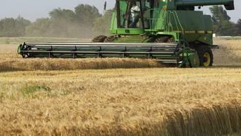 Ein Bauer bei der Weizenernte in Kansas, Amerika (Symbolbild)