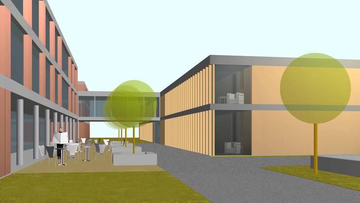 Der Erweiterungsbau (r.) mit der Passerelle zum bestehenden Alterszentrum Im Grüt soll rund 8 Millionen Franken kosten und 20 neue Pflegeplätze bieten