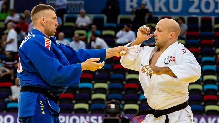 Patrik Moser (rechts) in seinem ersten und gleichzeitig letzten WM-Kampf seiner Judo-Karriere diesen September in der aserbaidschanischen Hauptstadt Baku.
