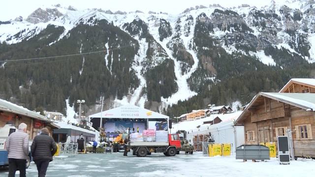 Vor der Lauberhorn-Party im Weltcup-Dorf