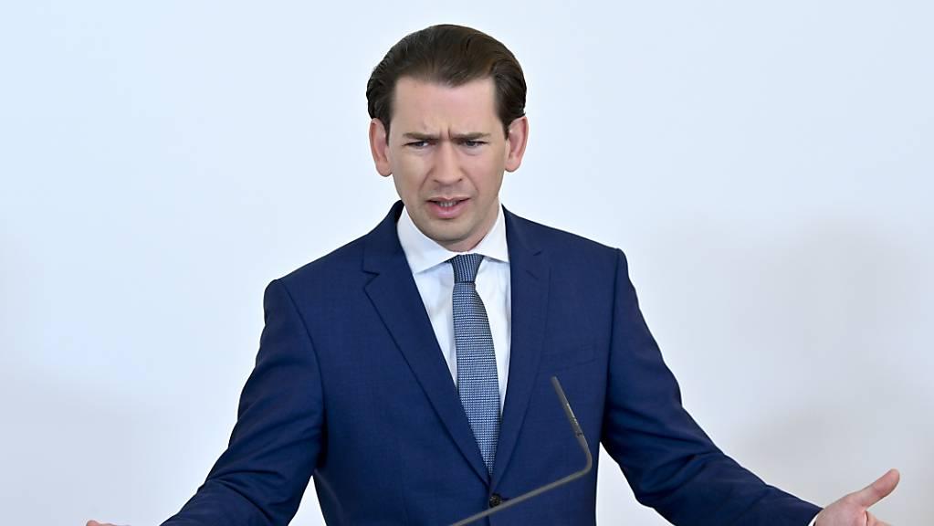 Sebastian Kurz (ÖVP), Bundeskanzler von Österreich, nimmt an einer Pressekonferenz nach einer Sitzung der Corona-Taskforce zum Thema «Vorbereitung auf den Herbst» teil. Foto: Herbert Neubauer/APA/dpa