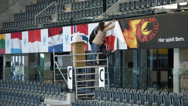 Die Eishockeyhalle wird umgewandelt.
