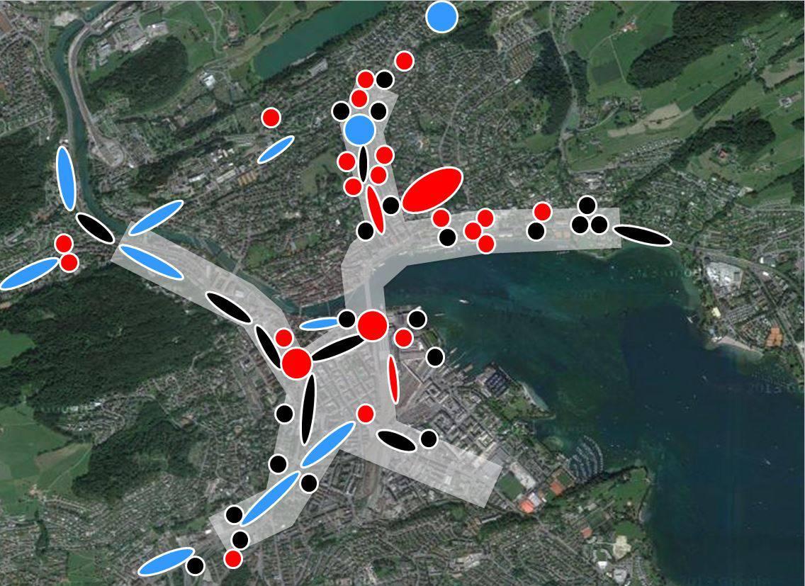Übersicht über die verkehrsentlastenden Massnahmen in der Stadt Luzern. Schwarz = bereits bestehende Massnahmen Blau = Geplante Massnahmen bis 2018 Rot = Zusätzliche Massnahmen
