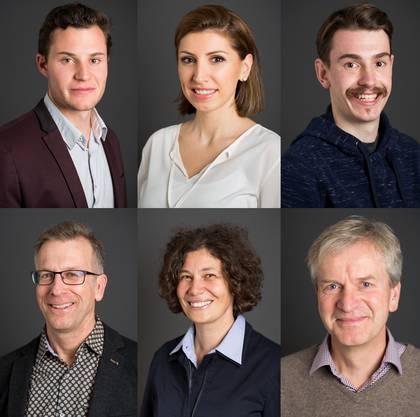 Gemeinderatskandidaten der SP Starrkirch-Wil (oben, vl.): Thomas Schaad, Shqipe Berisha und Fabio Kuhn, alle neu; (unten, vl.:) Thomas Buss (neu), Thekla Müller (neu) und Jürgen Holm (bisher).