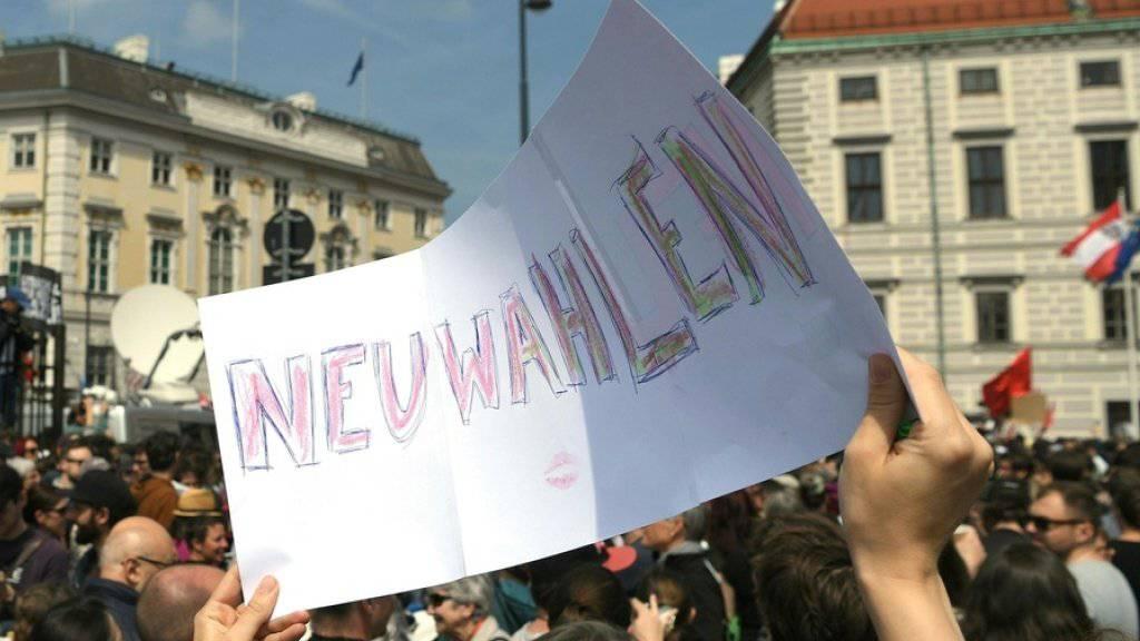 Demonstrationen fordern am Samstag in Wien nach der Veröffentlichung des * «Ibiza-Videos» unter anderem Neuwahlen.