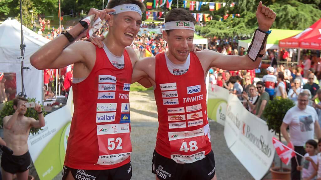 Matthias Kyburz (links) und Daniel Hubmann treten gemeinsam als Titelverteidiger an. Sie gewann an der EM 2018 in Mendrisio zeitgleich Gold.