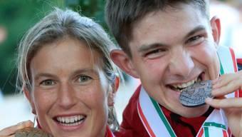 Simone Niggli strahlt mit Fabian Hertner um die Wette (Archiv)