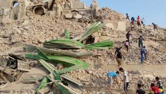 Die zerstörte Grabstätte des Propheten Jonah in der Region Mossul