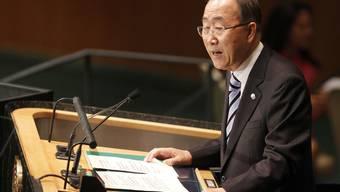 UNO-Generalsekretär Ban Ki Moon spricht vor der Vollversammlung in New York