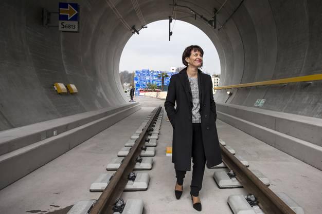 Im Verkehrshaus Luzern wird ein Neat-Tunnelabschnitt in Originalgrösse gezeigt. ALEXANDRA WEY/ Keystone