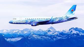 Gibts bis jetzt nur virtuell: ein Flugzeug mit der Bemalung von Powdair.
