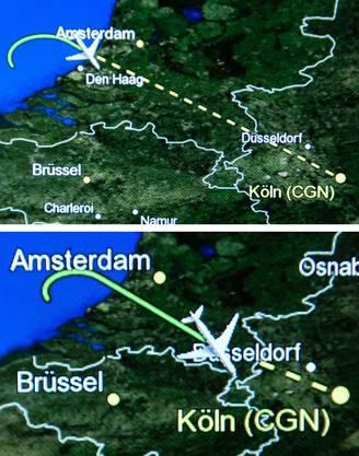 So flog der Airbus zurück nach Köln