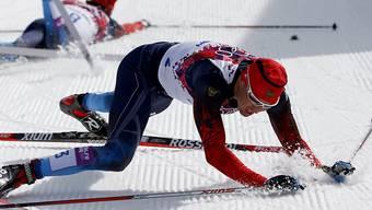 Alexander Legkow nach dem Zieleinlauf über 50 km Skating an den Olympischen Spielen 2014 in Sotschi
