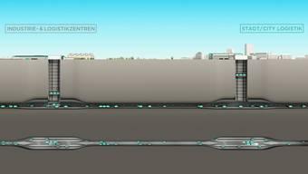 Die Transportbehälter 20 bis 40 Meter unter dem Boden sind unbemannt. Sie fahren mit rund 30 km/h. Sie sollen       zu 100 Prozent mit Strom aus erneuerbaren Energien betrieben werden.
