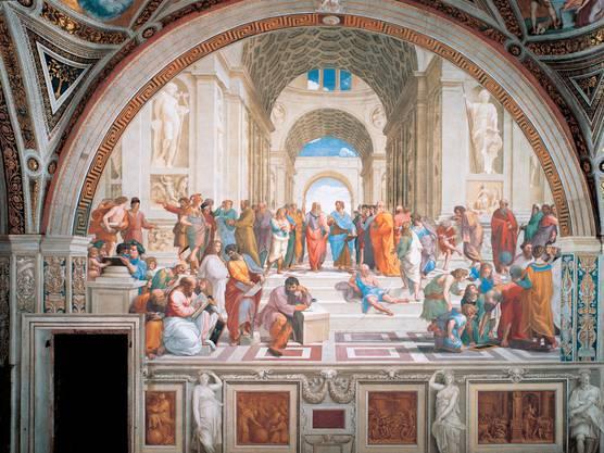 Die Antike war für die Künstler der Renaissance Vorbild und Thema. Raffael versammelte in der «Schule von Athen» Dichter, Philosophen und Wissenschafter. In der Mitte: Platon und Aristoteles; vorn am Steintisch sitzend: Heraklit, in dem Raffael seinen Konkurrenten Michelangelo verewigte. Das Wandgemälde schuf er 1509 für die Stanzen, die Gemächer des Papstes.