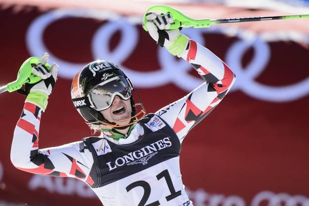 Die Österreicherin Nicole Hosp gewinnt Silber.