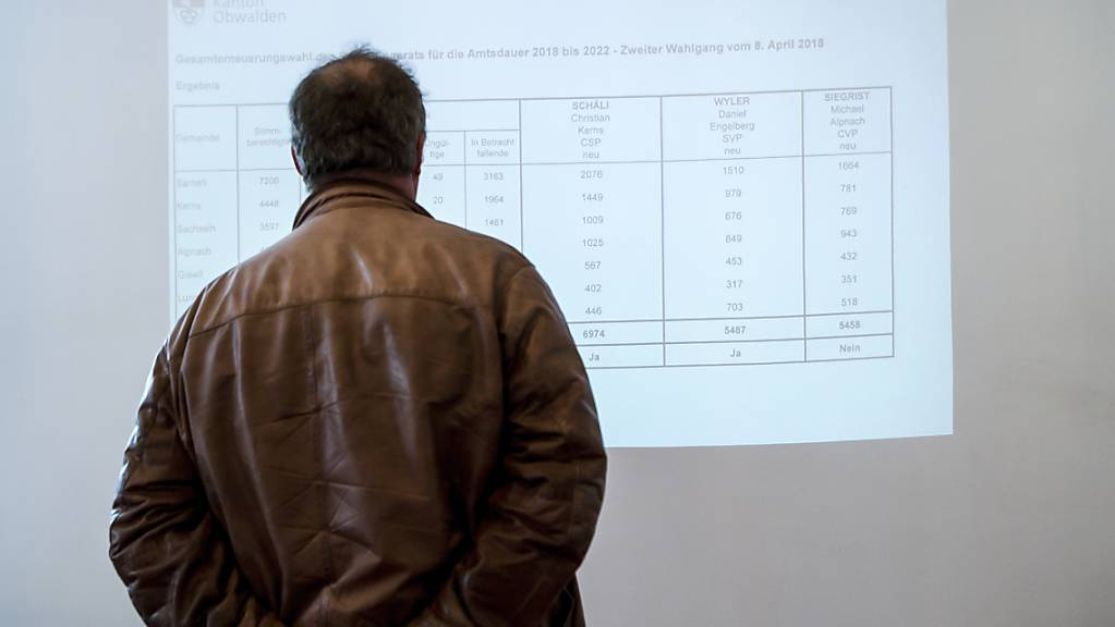 Ein Mann studiert die Wahlergebnisse in Sarnen: Die nächsten Gesamterneuerungswahlen finden am 13. März 2022 statt. (Archivbild)