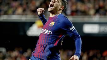 Philippe Coutinho feiert sein erstes Tor für den FC Barcelona