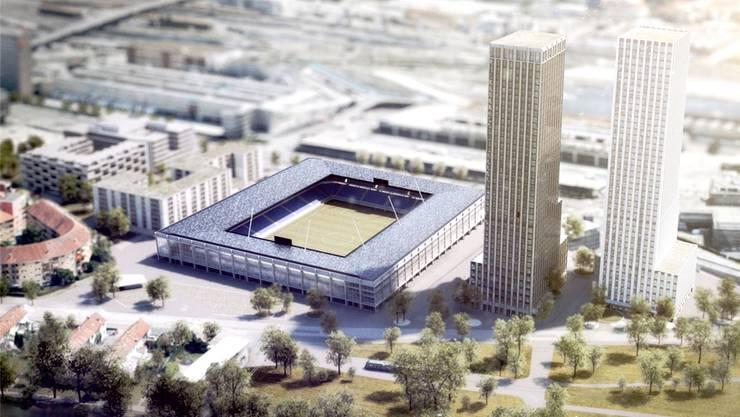 So soll das neue Stadion auf dem Hardturmareal aussehen. Visualisierung zvg