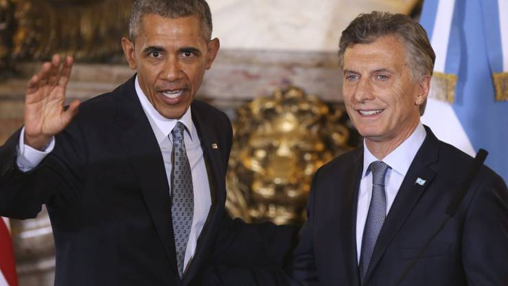 US-Präsident Barack Obama und der argentinische Präsident Mauricio Macri bei der Medienkonferenz in Buenos Aires.