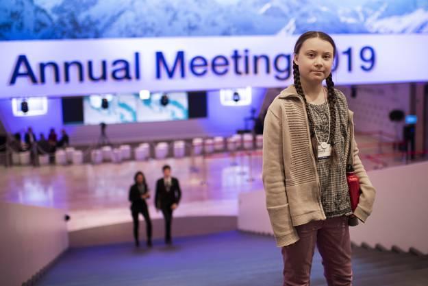 Greta Thunberg am WEF in Davos im Januar 2019.