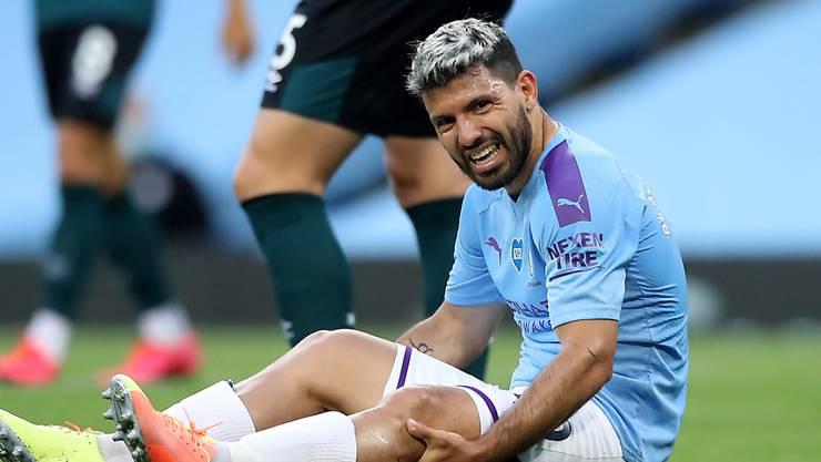 Sergio Agüero von Manchester City hat sich am Montag am Knie verletzt