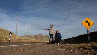 Am Strassenrand im peruanischen Hochland. Schön ist es hier, aber bestimmt kein Paradies für Autostöppler.