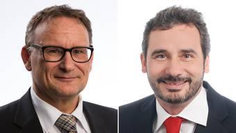 Von der SVP Bezirk Baden aufgestellt: Grossrat Werner Scherer, Killwangen (links). Von der SVP Bezirk Baden nicht portiert: Grossrat Daniel Aebi, Birmenstorf (rechts).