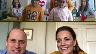 Prinz William (37) und Herzogin Kate (38) haben Schülern in Grossbritannien per Videoanruf einen Besuch abgestattet.