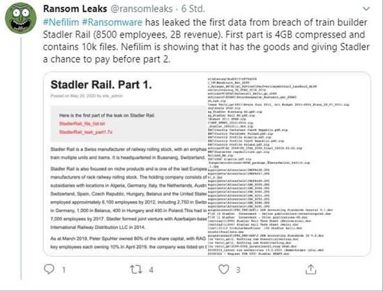Die Daten des Spuhler-Konzerns wurden veröffentlicht. (Screenshot Twitter)