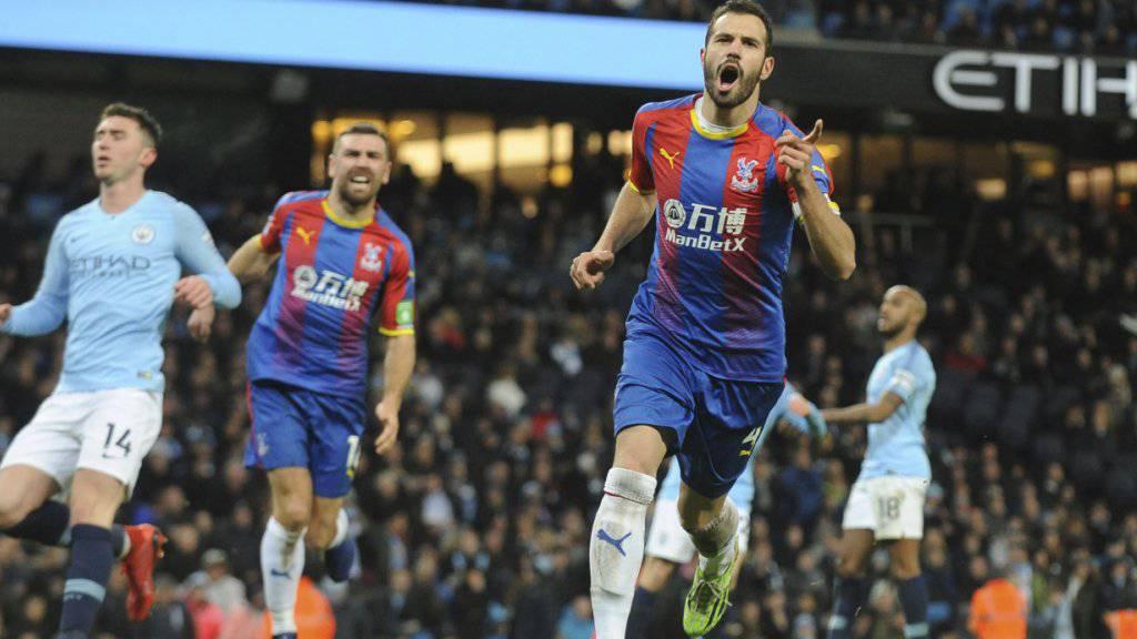Luka Milivojevic und seine Teamkollegen von Crystal Palace sorgten für eine faustdicke Überraschung und siegten bei Manchester City 3:2