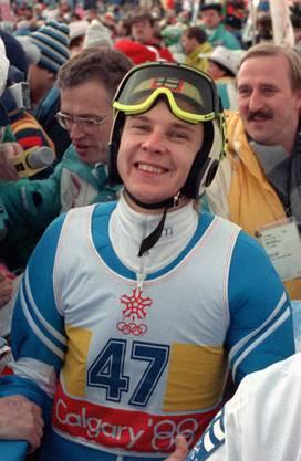 Matti Nykänen als gefeierter Olympiasieger im Skispringen