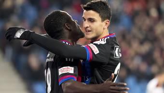 Seydou Doumbia und Mohamed Elyounoussi jubeln nach dem 1:0.