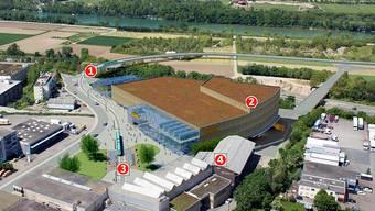 Der geplante Obi-Neubau (2) ist dem Z7-Betreiber zu nahe an seiner Konzertfabrik (4). Die Gemeinde sieht vor, den Obi mit dem Tram zu erschliessen, dies per Schlaufe (1) und Haltestelle (3) – das sei auch ein Vorteil für das Z7.