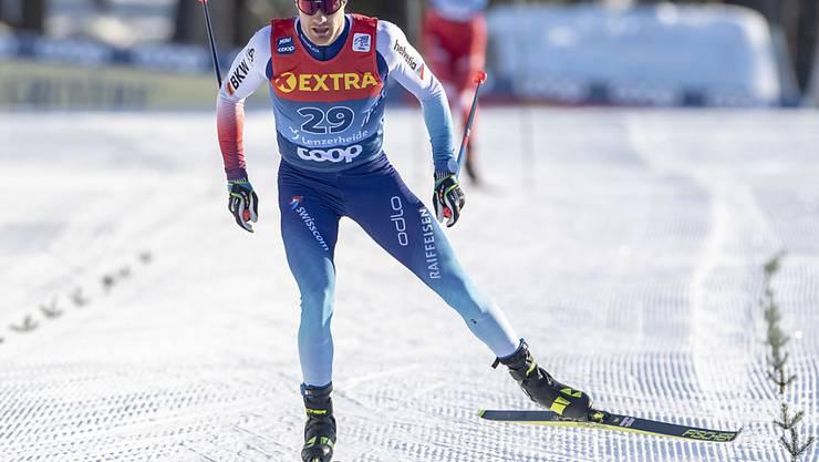 Dario Cologna im Finish.