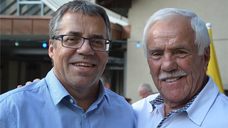 HCW-Präsident Linus Angst Junior (l.) und Franz Zürni, der 1967 als Erster den Landhockey-Club Wettingen präsidierte, feiern das 50-Jahr-Vereinsjubiläum. zvg