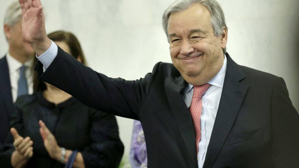 UNO-Generalsekretär Antonio Guterres am Dienstag, seinem ersten Arbeitstag, am UNO-Sitz in New York.