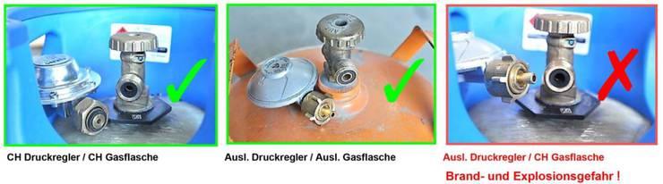Vorsicht bei Gasgeräten mit ausländischen Druckreglern