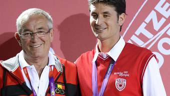 Philippe Guerdat (links) zusammen mit seinem Sohn Steve (Archivbild)