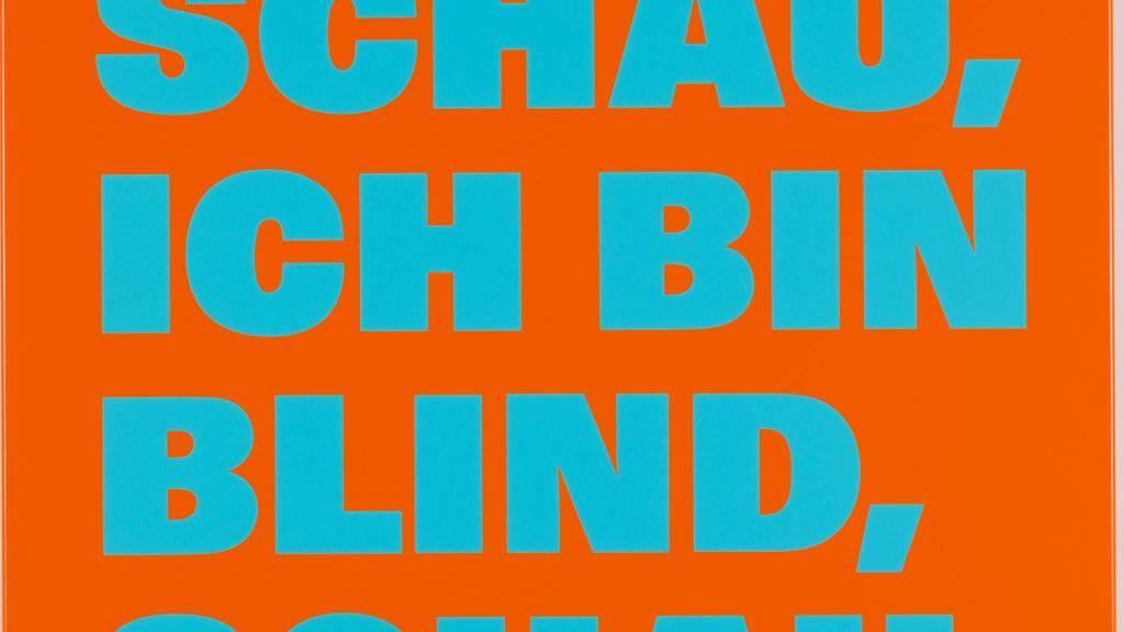 «Schau, ich bin blind, schau.» (1998) von Rémy Zaugg ist eines der 24 Werke aus der Sammlung der Hans und Monika Furer-Brunner Stiftung, die das Kunstmuseum Basel als Schenkung entgegennehmen kann.