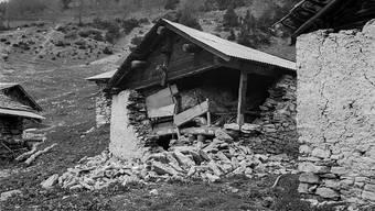 2019 sind in der Schweiz doppelt so viele Erdbeben verspürt worden wie im langjährigen Durchschnitt. Über Schäden wie beim Beben im Januar 1946 am Rawilpass im Kanton Wallis (Bild) wurde aber nichts bekannt.