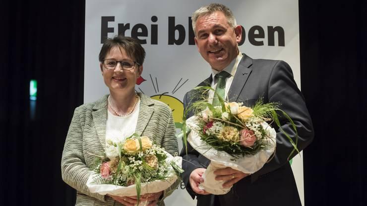 Strahlende Nominierte am Mittwochabend in Gipf Oberfrick: Alex Hürzeler (bisher) und Franziska Roth.
