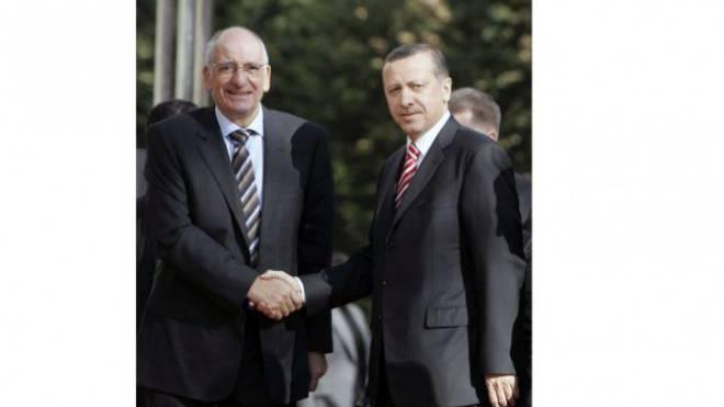 Pascal Couchepin 2008 mit Recep Tayyip Erdogan in Ankara. Foto: Keystone