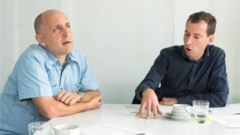 SVP-Kantonsrat Claudio Schmid (links) und Winterthurer SP-Stadtrat Nicolas Galladé debattieren über die Wirksamkeit der Integrationsmassnahmen für Flüchtlinge.Alex Spichale