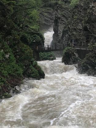 Im Obertoggenburg, auf dem Weg zu den Thurwasserfällen.