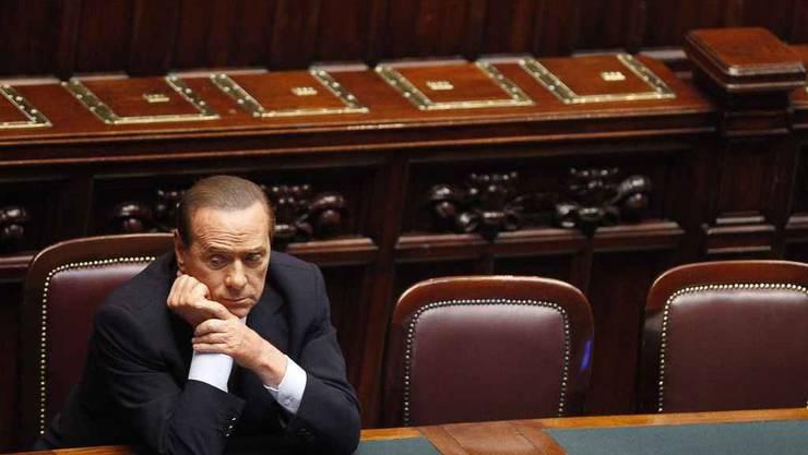 Sorgenvolle Miene: Italiens Premier Silvio Berlusconi