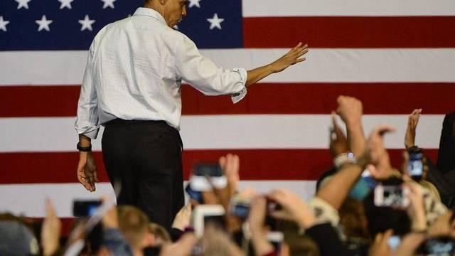 US-Präsident Obama begrüsst Anhängerinnen und Anhänger in Milwaukee im US-Bundesstaat Wisconsin