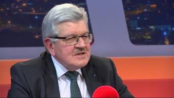 Der Aargauer Finanzdirektor (l.) sprach in der Sendung «TalkTäglich» auf Tele M1 mit «Nordwestschweiz»-Chefredaktor über mögliche Lösungswege aus dem Sparpaketdebakel. Sehen Sie hier die Highlights in unserem Zusammenschnitt.
